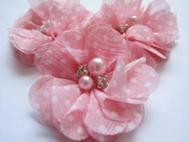 Bloem chiffon met parels & strass roze polka dot