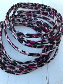 Diadeem tijger/panter off white-fel roze-zwart1cm