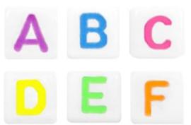 Letterkralen  Wit-neon  colour vierkant