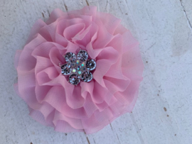 Luxe bloem met bloem strass  licht roze