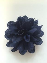 Chiffon bloem navy 5,5 cm