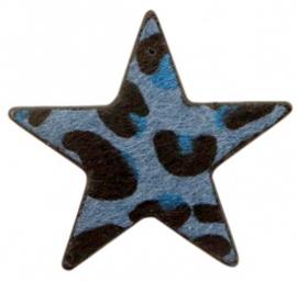 Hanger pu leer ster harig met tijgerprint jeans blue