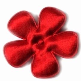Satijnen bloem  rood 4,7 cm