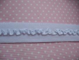 Elastisch band met roezel (haarbandjes) wit 1,5cm
