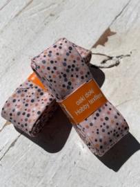 Biasband lichtroze met gekleurde confetti  stipjes katoen