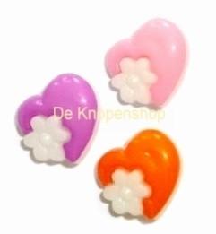Love hartje & bloem knoop paars