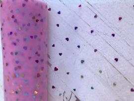 Hartjes tule licht roze