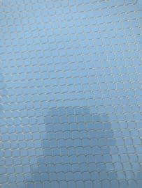 Zeemeermin staart patroon leer licht blauw/goud