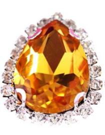 Flatback rhinestone druppel luxe gold spiegelend 2.3cm