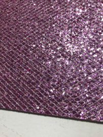 Glitter leer grof ruit motief lila/zilver