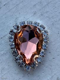Flatback rhinestone druppel luxe zalm/coral spiegelend 2.3cm