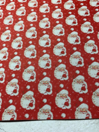 Leer kerstman rood glitter