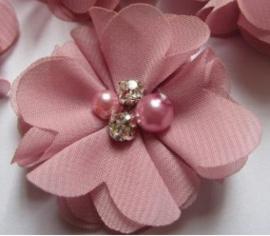 Bloem chiffon met parels & strass dusty pink