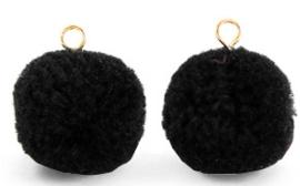 Pompom zwart met oog goud