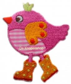 A0330 Roze vogel met stippen laarsjes