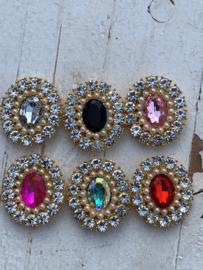 Luxe rhinestone diamant neon pink parels gold