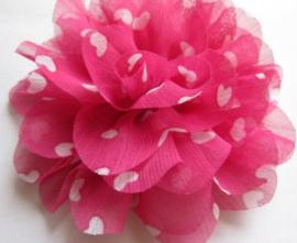 Bloem chiffon hot pink hartjes 12cm