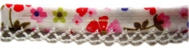 Biasband bloem roze & wit kantje