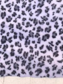 Leer/stof velvet  panter/tijger wit/grijs 20x30 cm