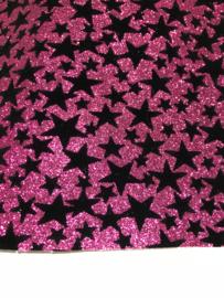Leer hot pink glitter sterren zwart velvet