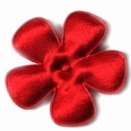 Satijnen bloem  rood 6,5cm