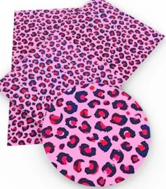 leer panter/tijger Roze  Rood zwart 20x34 cm