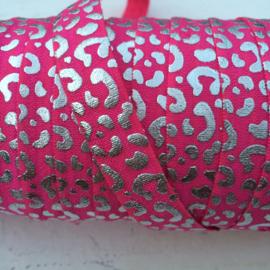 Elastisch band fel roze met zilver panter