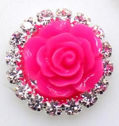 Flatback  roosje met diamantjes neon roze 2.1 cm
