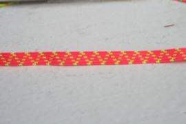 Skinny haarband elastiek neon oranje met neon geel motief