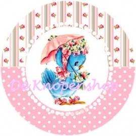 Flatback  Birdy roze polkadot & roosjes (k026)