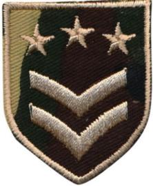 Applicatie opstrijkbaar army schild met 2 strepen en 3 sterren
