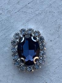 Flatback rhinestone  ovaal  zilver luxe donkerblauw