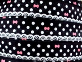 Elastische band zwart met strikjes en polkadot (haarband)