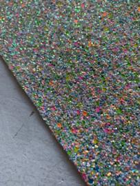 Glitter Leer grof neon groen/zilver mix 20x30 cm