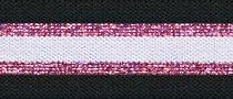 Elastisch band  gestreept zwart-wit met roze glitter 3 cm