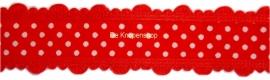Stippenband met schulp randje rood