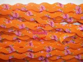 Zigzagband oranje roosjes 5mm