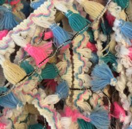 Sierband kwastjes knal roze/petrol/blauw/creme/wit
