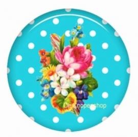 Flatback bloemen polka dot aqua (k130)