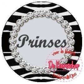 Flatback tekst PRINSES zebra (K086)