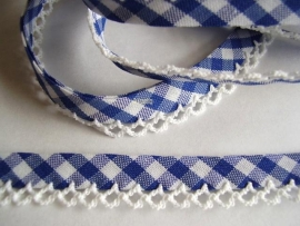 Biasband kantje ruitje royal blue/cobalt blauw  katoen