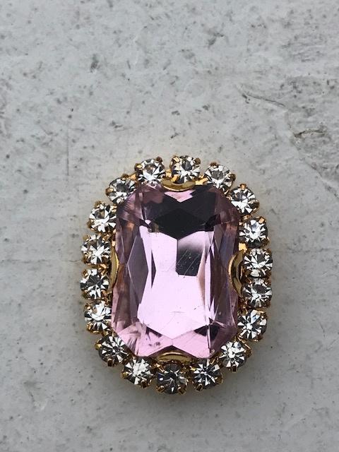 Flatback rhinestone  ovaal goud luxe  licht roze