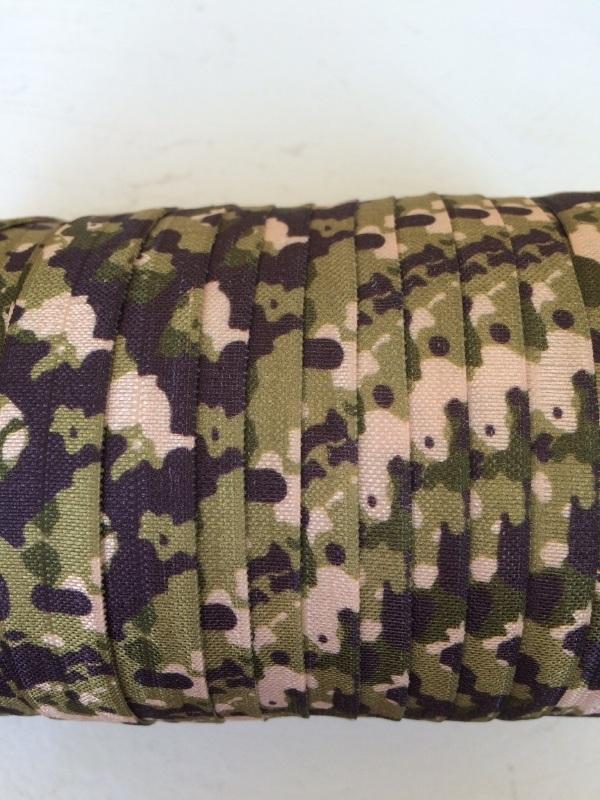 Elastische leger print groen biasband (haarband)