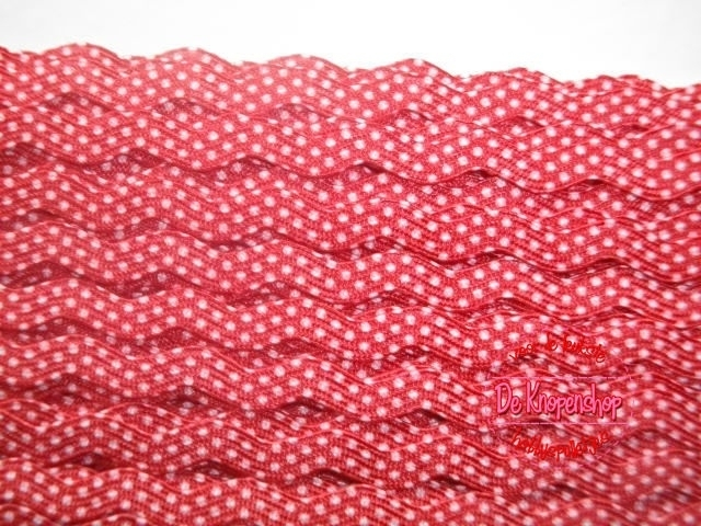 Zigzagband rood polkadot 5mm