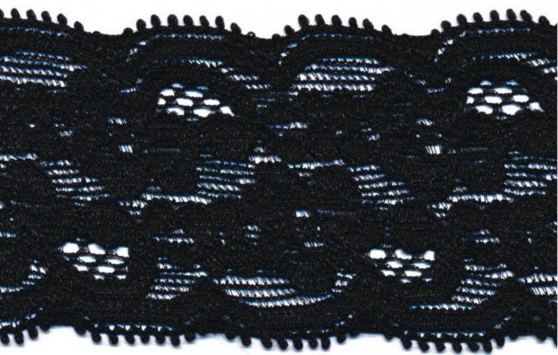 Elastisch kant (haarbandjes) zwart 4 cm
