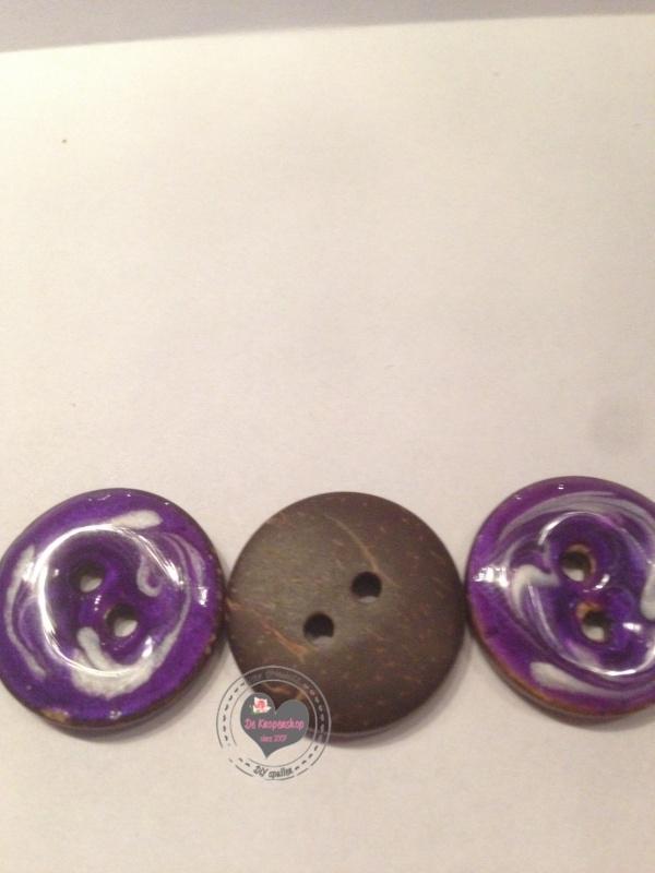 knoop paars&wit 2cm