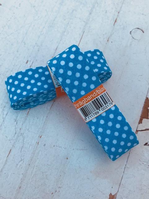 Biasband blauw  met witte stip katoen