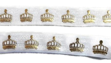 Elastisch haarband wit met gouden kroon