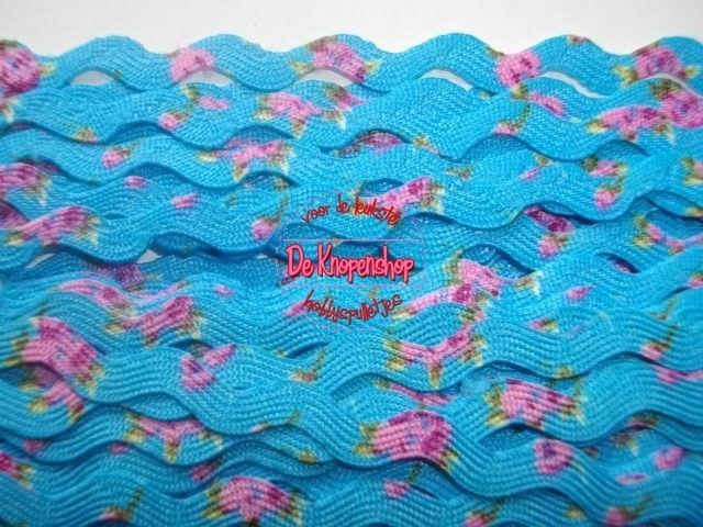 Zigzagband aqua roosjes 5mm
