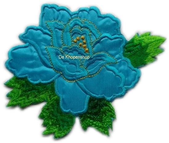 A056e Grote aqua roos met blad